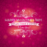 Fototapety pink valentines day greeting card  with  hearts,  vector