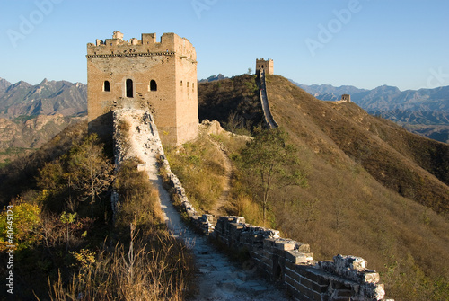 Deurstickers Chinese Muur Old broken chinese great wall in JInshanling section