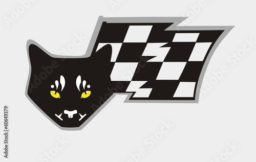 Black cat head with yellow eyes and a flag - Taxi Sign