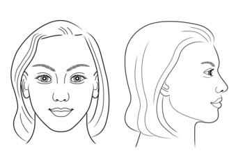 Schwarz-weiße Zeichnung eines Frauenportraits frontal/im Profil