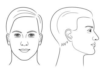 Schwarz-weiße Zeichnung eines Männerportraits frontal/im Profil