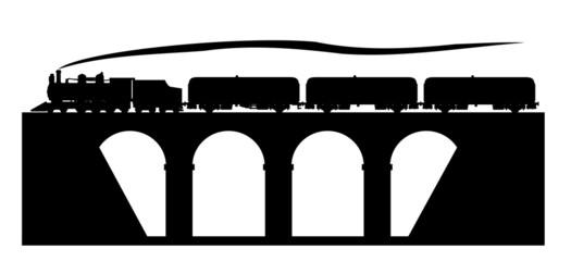 Old train on the bridge