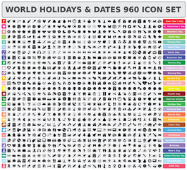 World holidays and dates 960 icon set