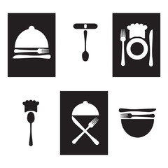 Restaurant icons, logo black and white