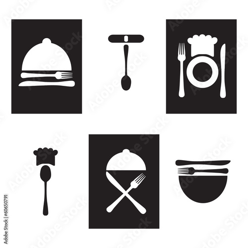 Restaurant icons, logo black and white
