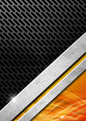 Orange Red and Metal Background with Grid