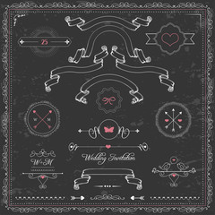 vector cute design elements, chalkboard wedding invitation,