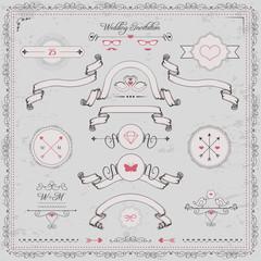 design elements, wedding invitation, vintage ribbons