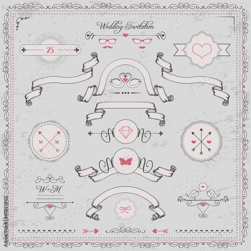 design elements, wedding invitation, vintage ribbons