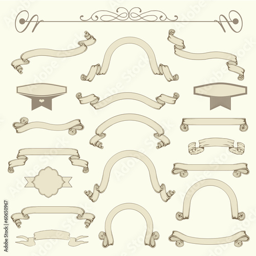 collection of vintage ribbons, vector banner design elements