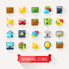 Set of banking icons in flat design style.