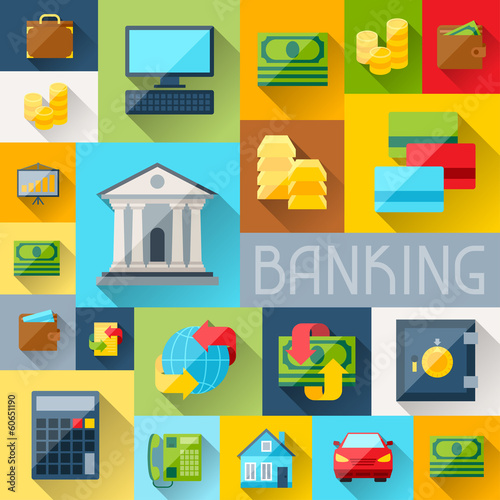 Background with banking icons in flat design style.