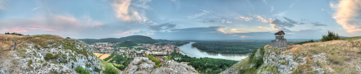 panorama of rhe small town and country from the hill