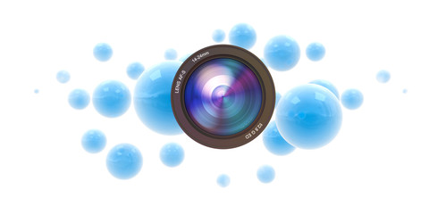 Photographic blue spheres