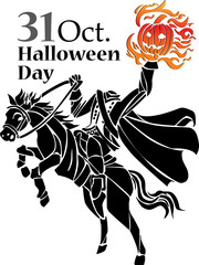 Halloween zombie night with devil horse on white background