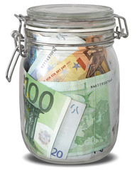 Banknotes Euro in jar