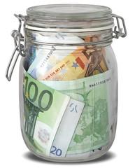 Banknotes Euro in jar