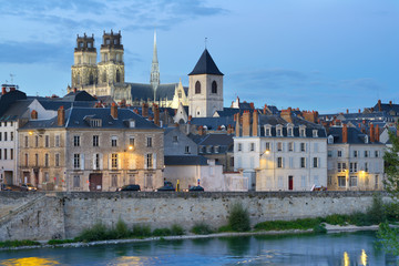 Embankment of Loire river in Orleans, France
