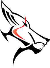 image of an wolf head with red line on white background
