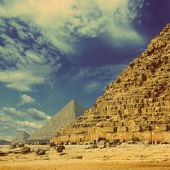 egypt pyramids in Giza Cairo - vintage retro style