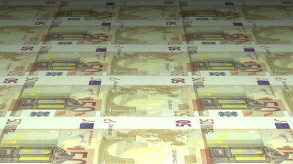 Money printing: 50 euros banknotes. Seamlessly loopable