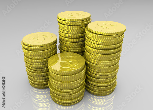Four stacks of coins