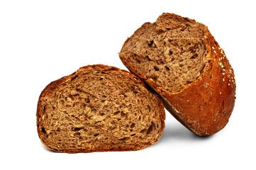 Fresh bread isolated, bread broken