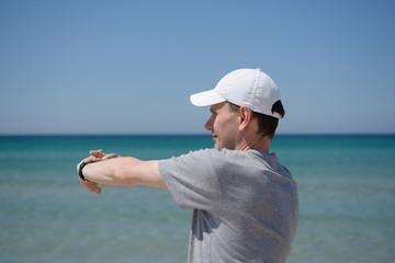 Exercising on a beach
