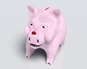 Smiling piggy bank with ladybug on nose