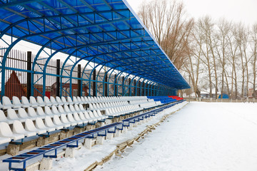 seat on the stands in winter