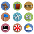 Vector flat circle tarvel icon set on white background. Eps10