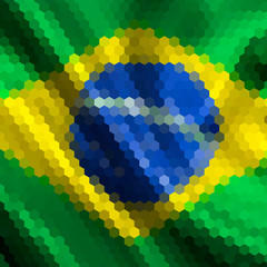 Mosaic background for your design. Brazilian flag