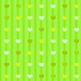 Green pastel hearts on striped cloth seamless background