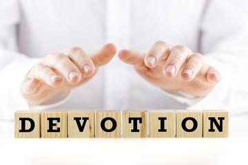 The word - Devotion - on wooden blocks