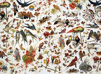 Birds tile, swallows, background, decoration