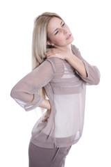 Frau mit Rückenschmerzen isoliert auf Weiß