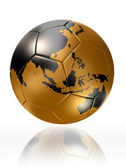 gold soccer ball globe world map australia asia