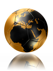 gold soccer ball globe world map europe africa