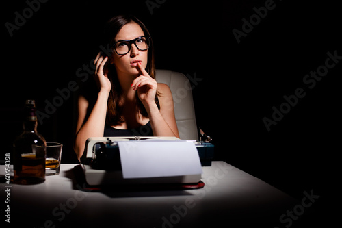 Novelist thinking of the story she's going to write