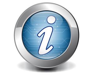 Blue techno information button