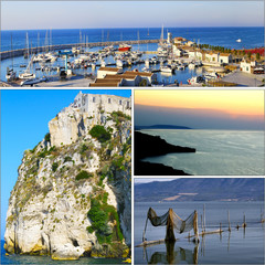 Collage of landscapes and scenery of Gargano, Puglia - Italy