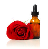 Dropper bottle with red rose