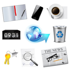 Business and office icons set. Detailed vector illustration