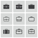 Vector black briefcase icons set - 60655790