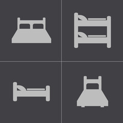 Vector black bed icons set