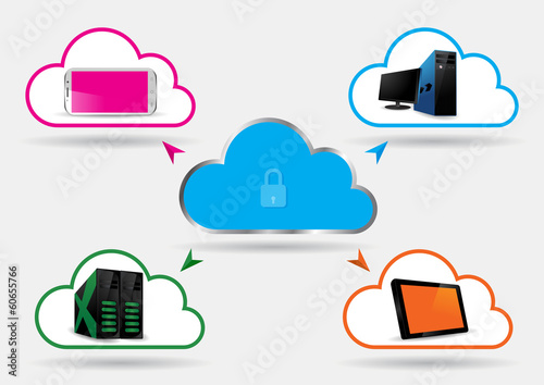 Secured Cloud Computing - Vector Illustration