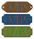 Set wooden label,VIP, isolated on the white background.