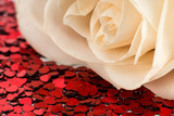 Valentines decoration of white rose and red heart
