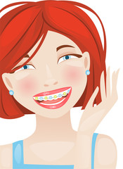 Dental braces girl
