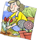Woman is planting flowers